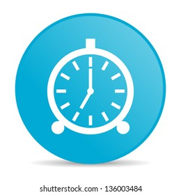 alarm clock blue circle web glossy icon