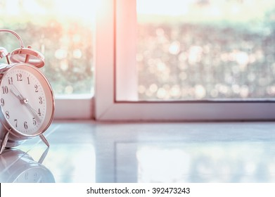 alarm clock with blured background retro style, light effects