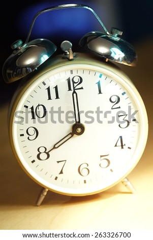 Alarm Clock Dial On The Morning Closeup