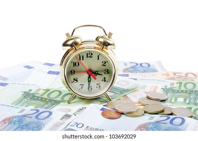 Alarm clock  for euro banknotes isolated on white