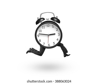 Alarm clock with human legs running, isolated on white background.