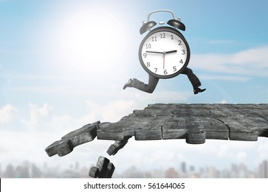 Alarm clock with human legs running on concrete puzzle ground with some pieces falling.