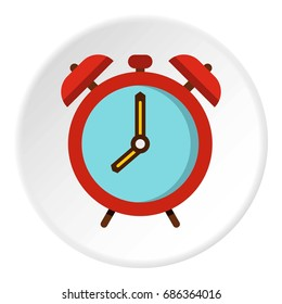 Alarm clock icon in flat circle isolated  illustration for web