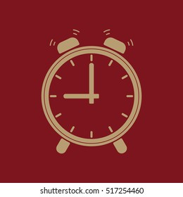 The Alarm clock icon.  Alarm clock symbol. Flat.  illustration
