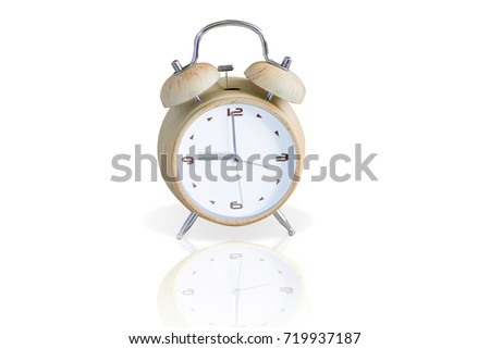 Alarm Clock Isolated On White With Clipping Path 9 Oclock Wood Vintage