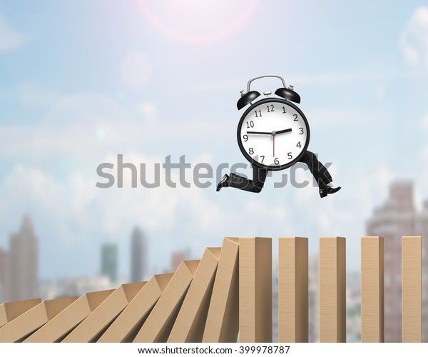 Alarm clock with legs running on falling wooden dominoes, on sunny sky cityscape background.