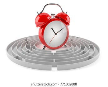 Alarm clock with maze isolated on white background. 3d illustration