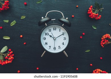 Alarm clock on dark wooden background, flat lay top view minimal composition with retro floral arrangement