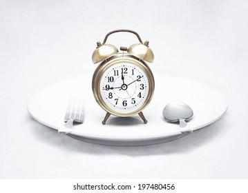 alarm clock on dish (vintage textured style)