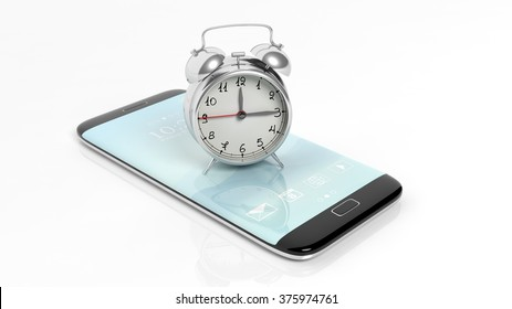 Alarm clock on smartphone screen, isolated on white background.