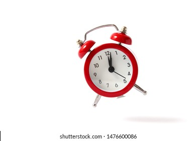 alarm clock on a white background. Retro clock, alarm clock