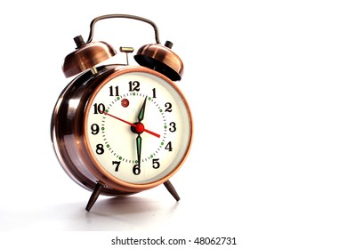 Alarm clock on white morning,, after noon,age, aging, alarm,