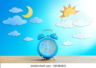 Alarm clock and paper craft, Day and Night Sky