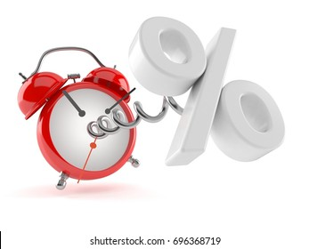 Alarm clock with percent symbol isolated on white background. 3d illustration