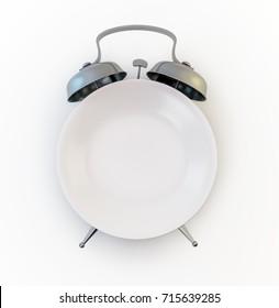 Alarm clock plate - meal time concept 3d illustration