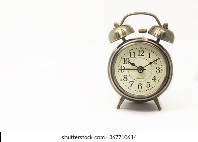 alarm clock retro and vintage classic design isolated white background,ten past ten
