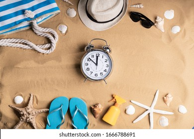 Alarm Clock In Sand On Sunny Tropical Beach