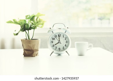 Alarm clock with a tree vase and a coffee cup placed on a white table in a white tone room.