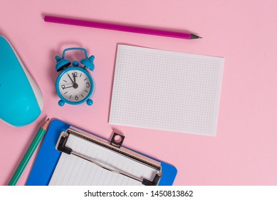 Alarm clock wakeup clipboard paper sheets markers mouse hardware colored background Empty text important events what to do home house school office college