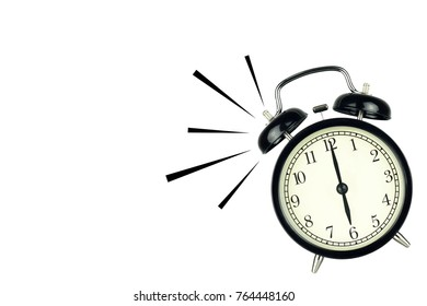 Alarm Clock wake-up time isolated on white background, showing six o'clock.