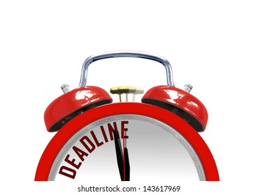 Alarm clock with the word Deadline on its face