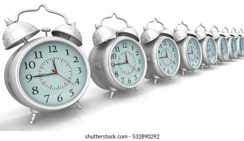 Alarm clocks in a row on a white surface. Isolated. 3D Illustration