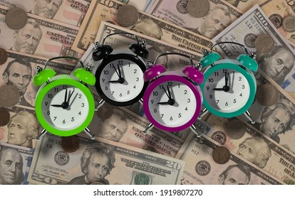 Alarm clocks as a tax reminder symbol.