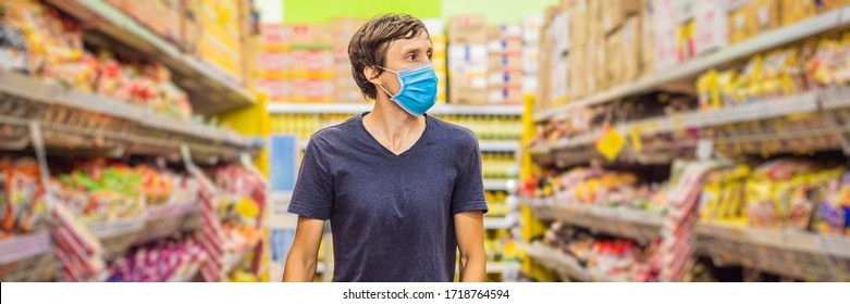 Alarmed man wears medical mask against coronavirus while grocery shopping in supermarket or store- health, safety and pandemic concept - young woman wearing protective mask and stockpiling food BANNER