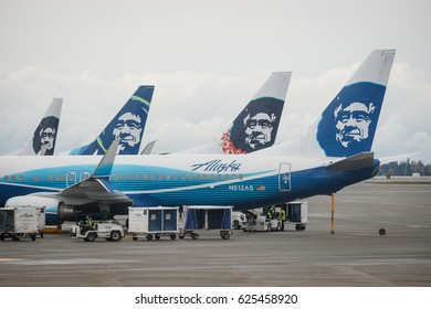 Alaska Airlines Boeing 737 airplanes prepare for take of at Seattle-Tacoma International Airport in Seattle, Washington, April 19th, 2017.