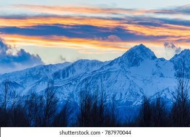 Alaska colorful mountain sunset