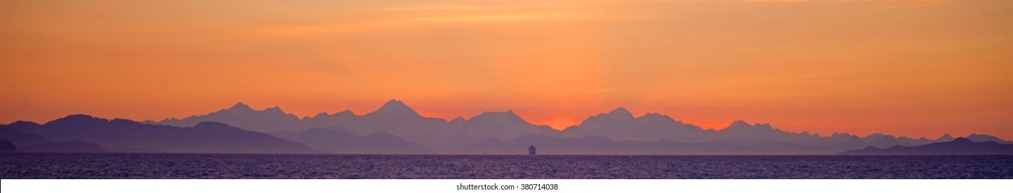 Alaska Cruise Ship and sunset