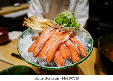 Alaska King crab or Taraba, Kegani, and Zuwai  shabu shabu with mushroom and japanese seafood soup dipping and boiling, good for winter