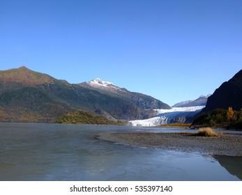 Alaska, Mendenhall Glacier and Mendenhall Lake