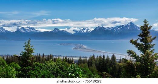 Alaska mountains, glacier, forest, view of Homer spit