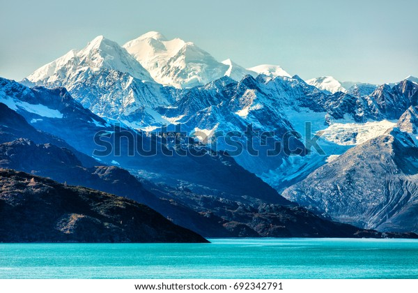 Alaska Mountains landscape in Glacier Bay Alaska, United States, USA. Vacation cruise travel destination.