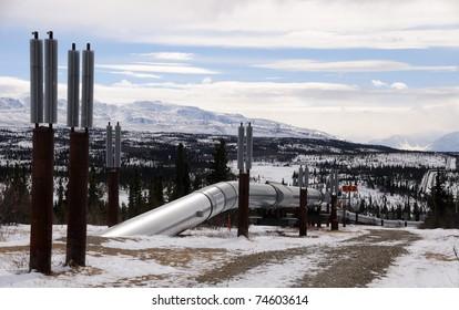 Alaska Oil Pipeline entering Isabel Pass in the Alaska Range