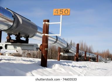 Alaska Oil Pipeline in Winter near Fairbanks