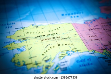 Alaska on the map travel background