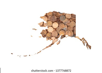 Alaska State Map and Money Concept, Piles of Coins, Pennies