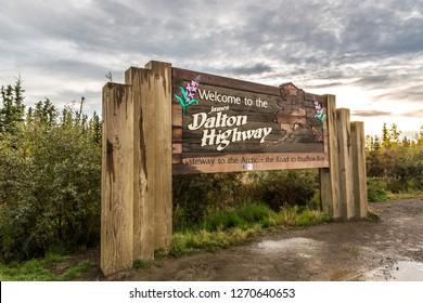 Alaska, USA - Sept 10th 2017 - The Dalton Highway welcome sign in Alaska in Usa