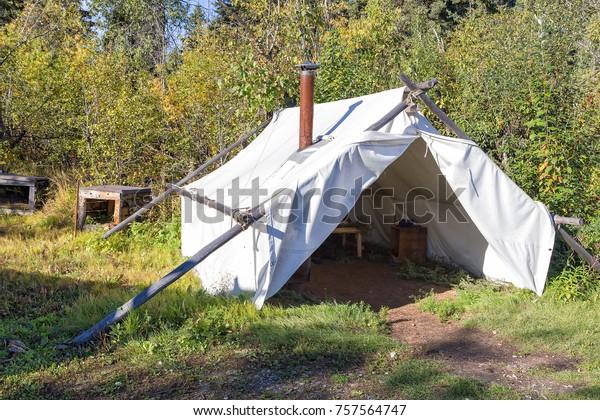 Alaskan Canvas Wall Tent Athabascan Village Stock Photo