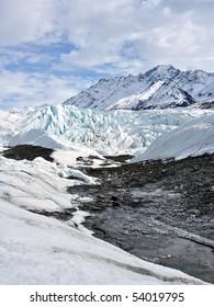 Alaskan glacier with rubble from moraine