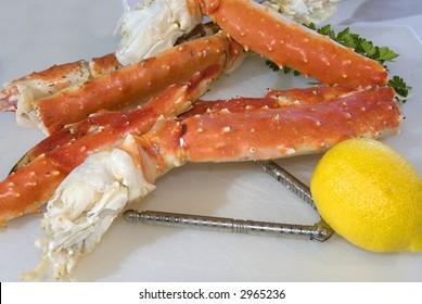 Alaskan King crab legs and lemon