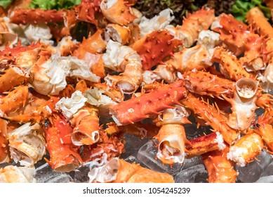 alaskan king crab and seafood on ice