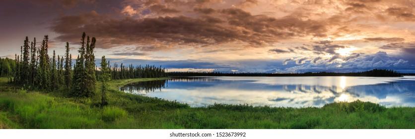 Alaskan summer - serene view of Wonder Lake, Denali National Park