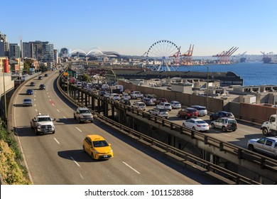 Alaskan Way with Downtown and Seattle Great Wheel visible in background seen from Victor Steinbrueck Park, Belltown District, Seattle, Washington, USA North America 20 September 2017