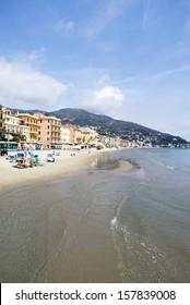 ALASSIO, ITALY � APRIL 19: Beach in Alassio, Italy on April 19, 2013. Alassio - the city of famous tourist destination in Liguria region of Italy.