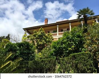ALASSIO, ITALY – APRIL 24, 2017: Villa della Pergola, an estate and hotel in Alassio town, Savona province, Liguria region, Italy