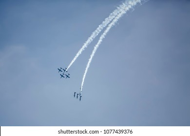 Alassio, Italy - September 22, 2013: Military fighters jets flying on festive parade of Italy Air Force Army