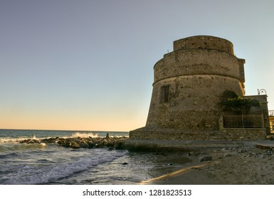 Alassio, Liguria / Italy - 01 02 2019: The Saracen Tower dates back to the 16th century and it's a defensive structure built in strategic position to defend the city from the maritime raids